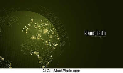 Abstract planet on a dark green background. Earth. World map. Green light. Sci-fi and hi-tech. Big cities. Map of points. The world population. World Network. Vector