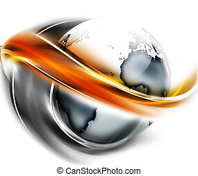 abstract planet - planet is surrounded by smooth lines - ...