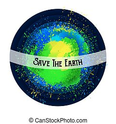 Abstract planet. Save the Earth. Bright spots.