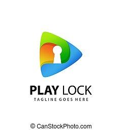 Abstract Play Media Lock Logo Design Template Premium Vector