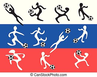 abstract players playing soccer on russia flag