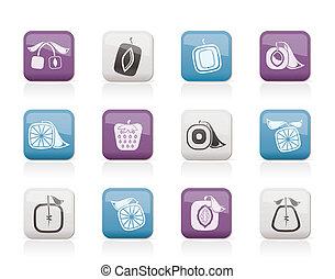 abstract, plein, fruit, iconen
