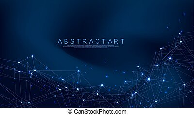 Abstract plexus background with connected lines and dots. Wave flow. Plexus geometric effect Big data with compounds. Lines plexus, minimal array. Digital data visualization. Vector illustration.