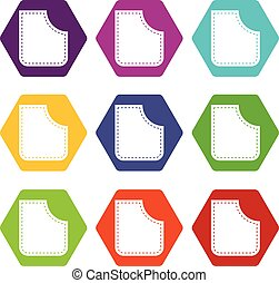 Abstract pocket icon set color hexahedron