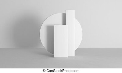 Abstract podium light white composition animation. Clean 3D room for your text and products with light and shadow motion. 4k UHD.