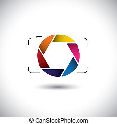 abstract point & shoot digital camera with colorful shutter...