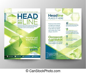Abstract polygon design vector template layout for magazine brochure flyer booklet cover annual report