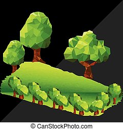 Abstract polygon trees in forest. Dark triangles in background