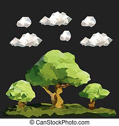 Abstract polygon trees in forest with cloud and dark background