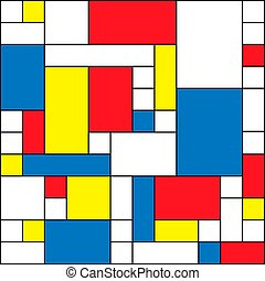 Abstract polygonal background with rectangular shapes, colorful mosaic pattern, retro bauhaus de stijl design
