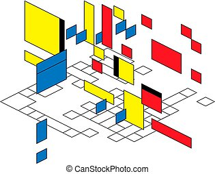 Abstract polygonal background with rectangular shapes in perspective, retro bauhaus de stijl design