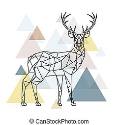 Abstract polygonal deer. Geometric hipster illustration....