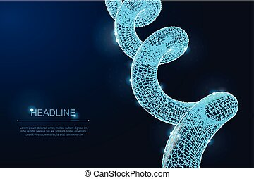 Abstract polygonal DNA spiral asset on dark background. Blueprint 3d render with stars and particles. Medicine Biological.