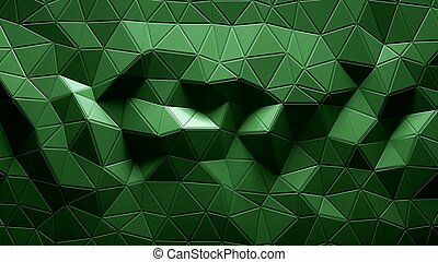 Abstract Polygonal Geometric background green color 3d