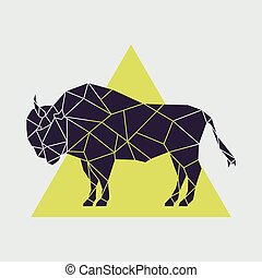 Abstract polygonal geometric buffalo.