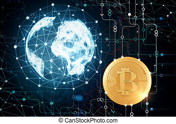 Cryptocurrency concept - Abstract polygonal globe and...