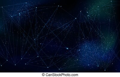 Abstract polygonal grid on cosmic background