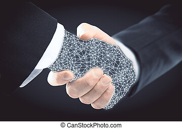 Online business concept - Abstract polygonal handshake....