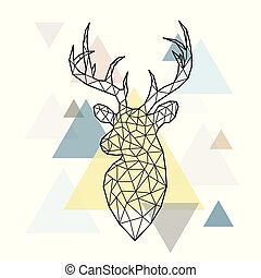 Abstract polygonal head of a forest deer on simple triangles background.