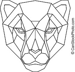 Abstract polygonal head of cheetah. Geometric illustration. Vector.