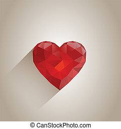 Abstract Polygonal Heart with Long Shadow