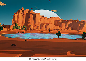 Abstract polygonal landscape