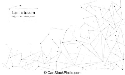 abstract polygonal particles on white background. Dots and lines