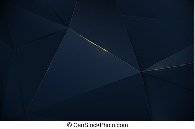 Abstract polygonal pattern luxury dark blue and gold background