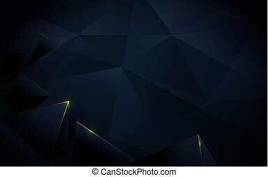 Abstract polygonal pattern luxury dark blue and gold background. Illustration vector