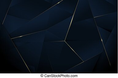 Abstract polygonal pattern luxury dark blue with gold background