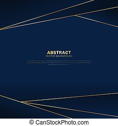 Abstract polygonal pattern luxury on dark blue header background with golden lines.