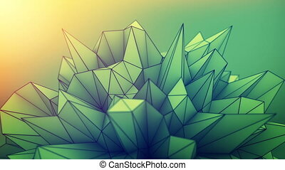 Abstract polygonal shape loopable 3D render animation