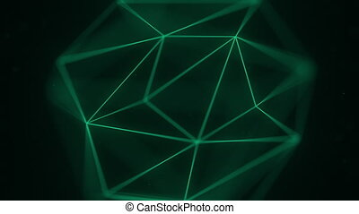 Abstract polygonal solid. 3D graphics related motion...