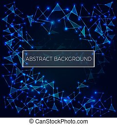 Abstract polygonal space low poly dark background with connectin