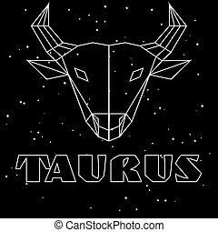Abstract polygonal zodiac sign taurus on black starry sky background