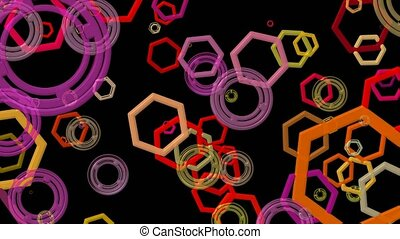 Abstract polygons and circles in various colors