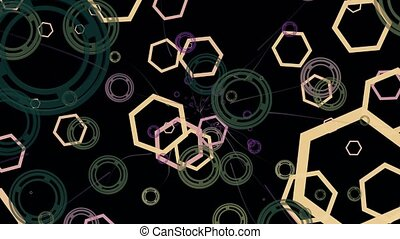 Abstract polygons and circles on black
