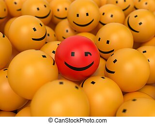 Abstract Popularity Concept. Many Yellow Balls with One Red Ball in the Center.