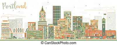Abstract Portland Skyline with Color Buildings.