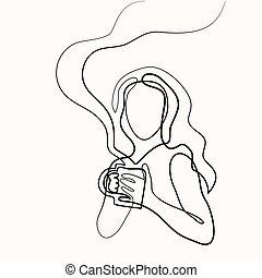 Abstract portrait of a woman with cup of tea
