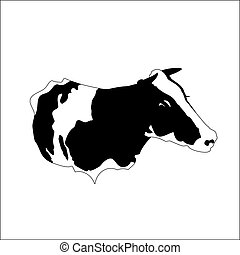 Abstract portrait of big cow. Black and white silhouette.