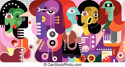 Abstract Portrait of Five Persons