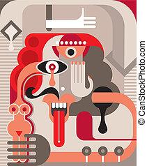 Abstract portrait of man - vector illustration.
