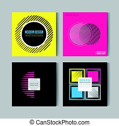 Abstract Posers Set. Art Graphic Backgrounds in Retro Swiss Flat Style. Isolated Figure, Shape, Icon, Logo for Covers, Placards, Posters, Flyers, Banner Designs. Vector Illustration