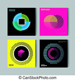 Abstract Posers Set. Art Graphic vector Backgrounds in Retro Swiss Flat Style. Isolated Figure, Shape, Icon, Logo for Covers, Placards, Posters, Flyers, Banner Designs
