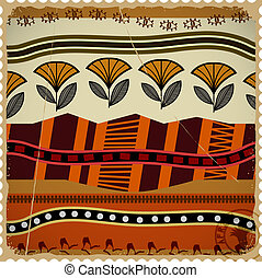 Abstract postage stamp with african texture