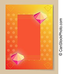 Abstract Poster with Bright Luminous Pink Diamons - Abstract...