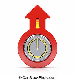 Abstract power button with arrow isolated on white background
