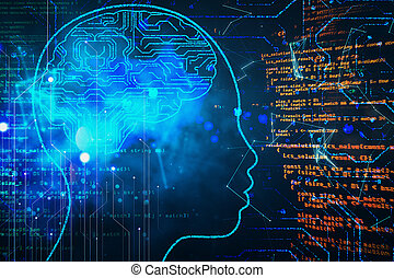 Abstract programming backdrop with head and digital brain hologram.