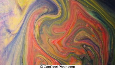 Abstract psychedelic background. Multicolored paints create a pattern in milk slow motion